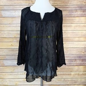 Lucky Brand Sheer Black Embroidered Lace Blouse